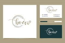 Initial BO Feminine Logo Collections And Business Card Templat Premium Vector