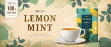 Engraving Lemon Mint Tea Banne...