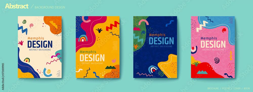 Fototapeta Vivid color abstract flyer set