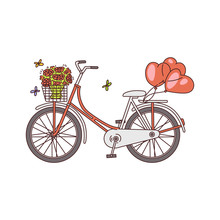 Bicycle Or Bike With Flowers And Balloons Sketch Vector Illustration Isolated.