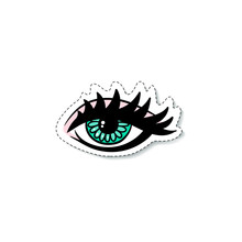Girls Or Women Eye With Long Lashes Sticker Cartoon Vector Illustration Isolated.