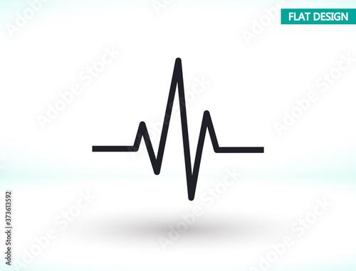 Photo Heartbeat icon , lorem ipsum Flat design