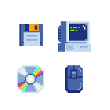 Old School Computer Icons Set. Pixel Art Style. Stickers Design. Video Game 8-bit Sprite. Retro Computer Floppy And Cd Disk Isolated Abstract Vector Illustration. Retro 80s Game Assets.
