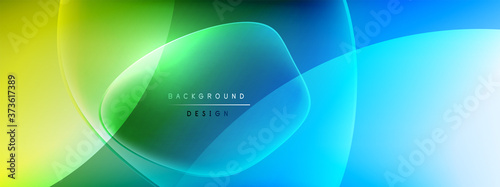 Vector abstract background - liquid bubble shapes on fluid gradient with shadows and light effects Fototapet
