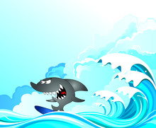 Comical Shark Surfer Riding The Waves Set Against A Cloudy Blue Sky