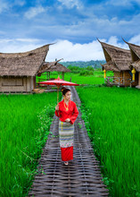 Young Thai Woman Wearing Traditional Lanna Clothing Walks On A Bamboo Bridge In The Middle Of A Rice Field With A Backdrop Of A Wooden Resort In Nan Province, Thailand.