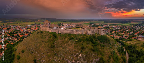 Sumeg, Hungary - Aerial panoramic view of the famous High Castle of Sumeg in Ves Fototapete