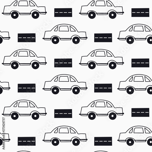 Seamless pattern with cars, hand drawn overlapping backdrop Canvas Print