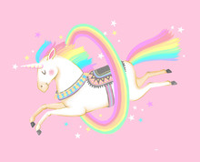 Cute Circus Unicorn Jumping Th...