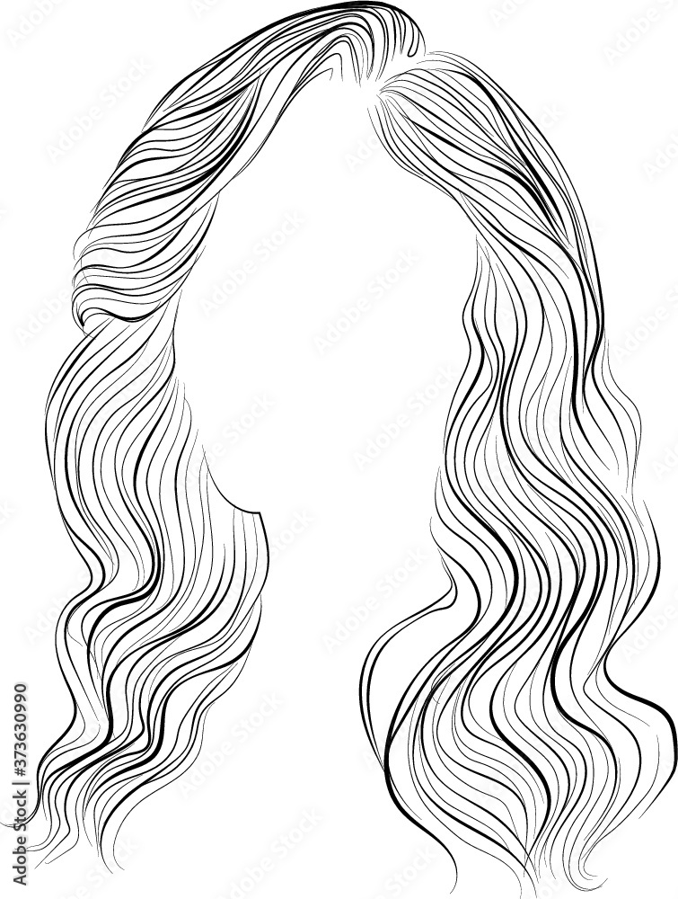 Fototapeta Hollywood waves, vector illustration. Hairstyle icon in black and white
