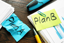 Time For Plan B In Business Concept. A Crumpled Piece Of Paper With The Words Plan A.
