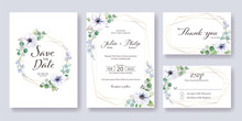 Set Fo Wedding Invitation, Save The Date, Thank You, Rsvp Card  Template. Vector. Anemone Flower, Silver Dollar Leaves.