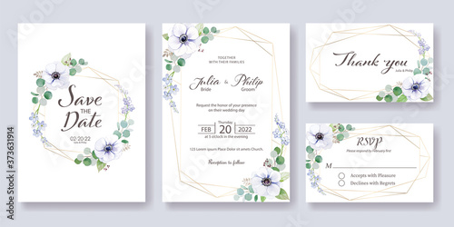 Fototapeta Set fo Wedding Invitation, save the date, thank you, rsvp card  template