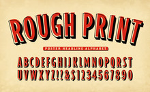 A Vintage Style Rough Print Alphabet In Red With A Black Shadow.