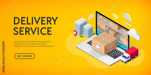 Delivery service online isometric banner concept with storage in laptop, parcel box, truck, buildings Fototapet