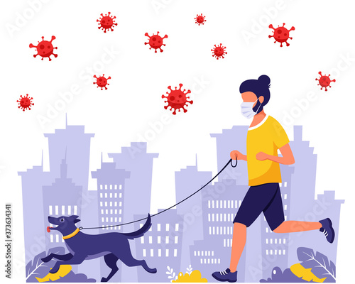 Fotomural Man running with dog during pandemic
