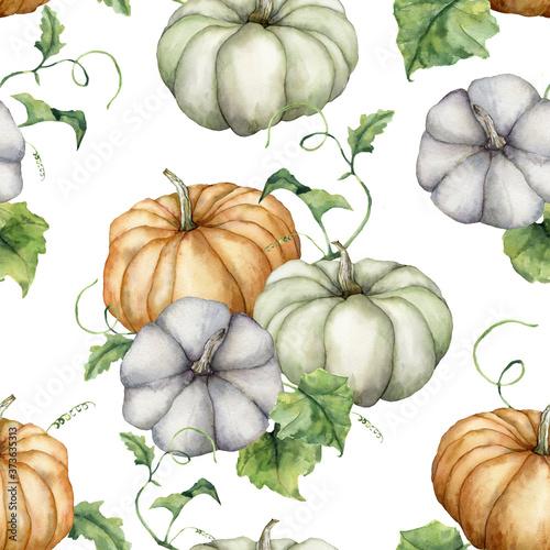 Cuadros en Lienzo Watercolor pumpkins and leaves seamless pattern