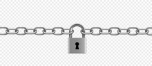 Chrome Plated Metal Chain And Padlock. Vector Illustration.