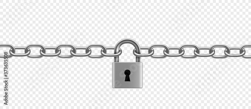 Fotografiet Chrome plated metal chain and padlock. Vector illustration.