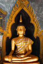 Gold Buddha Statue At A Temple In Chaing Mai, Thailand