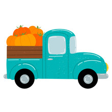 Flat Vector Illustration Of A Cute Cartoon Green Car Pickup Truck With Orange Pumpkins. Autumn Harvest Farm Truck Isolated On White Background.