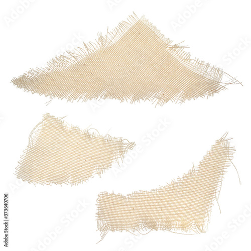 Set of pieces of torn beige fabric from canvas of various shapes Tableau sur Toile