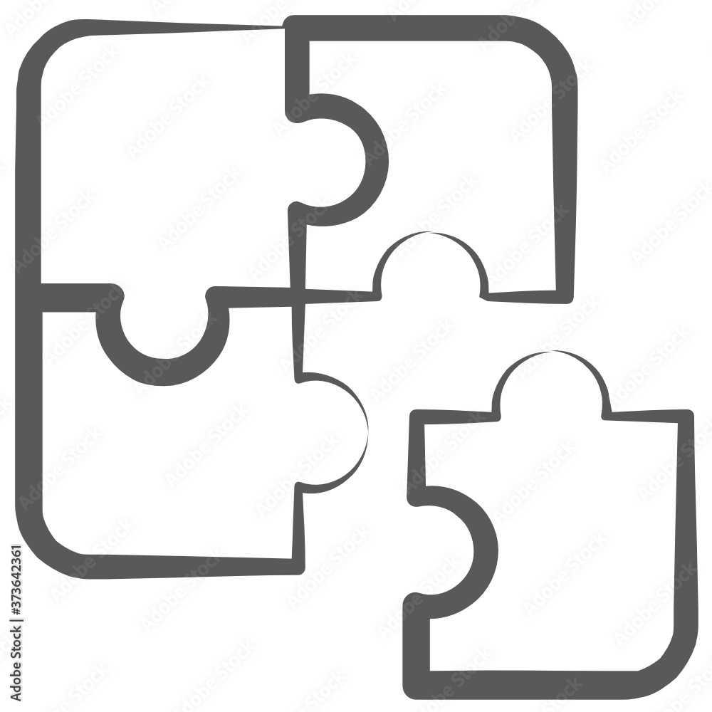 Fototapeta  Concept of problem solving icon in line style, jigsaw, puzzle piece