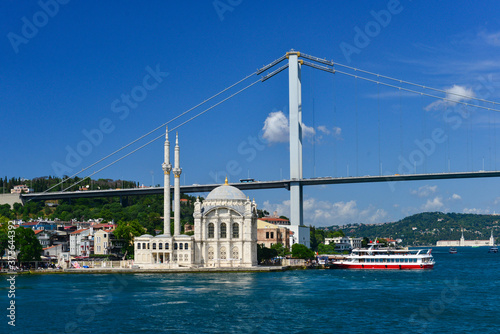 Canvas Print Istanbul cityscape, including Bosphorus bridge and Ortakoy Mosque as seen from a