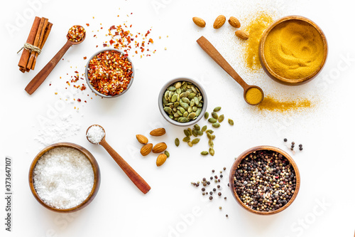Pattern of spices herbs and flavoring - top view Fototapeta