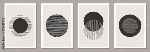 Obraz na plátně Trendy set of abstract creative minimalist artistic hand drawn compositions