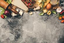 Italian Food Background. Slate...