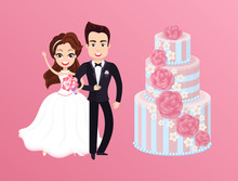 Happy Bride With Groom And Holiday Cake. Vector Newlywed Couple On Wedding, Wife With Pink Rose Bouquet And Luxury Multilayer Pie Isolated On Pink