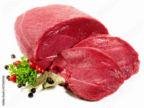 Canvas Print Raw Deer Haunch Meat Slice - Wild Game Meat on white Background - Isolated