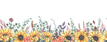 Watercolor Hand Painted Floral Sunflower Seamless Border.Watercolor Floral Illustration With Sunflowers -  For Wedding Invite, Stationary, Greetings, Wallpapers, Background.