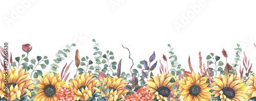 Obraz na plátně Watercolor hand painted floral sunflower seamless border