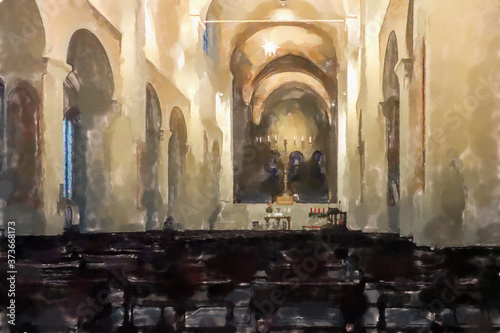 Carta da parati watercolor illustration:  Main room of the Braunschweig Cathedral with the colon