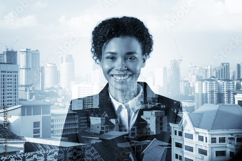 Fotografie, Tablou Successful smiling black African American business woman in suit