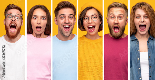 Photo Surprised millennial people in colorful clothes