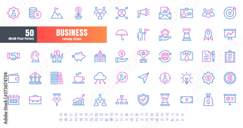 Valokuva Vector of 50 Business and Financial Bicolor Line Outline Icon Set
