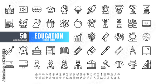 Photo Vector of 50 Education and School Subject Line Outline Icon Set
