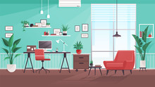 Workplace Modern Design. Office Studio, Cabinet Or Home Workspace Interior With Aquamarine Wall. Office At Home With Big Window, Desktop, PC Computer, Documets, Plants, Furnitures. Flat Style