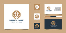 Pine Cone Logo Line Art And Business Card