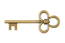 Old Key Isolated On White Background With Clipping Path