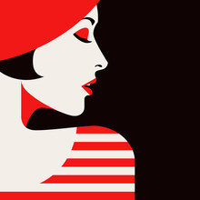 Portrait Of A Woman With Red H...