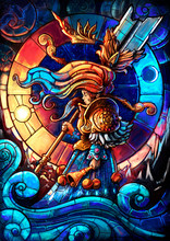 A Little Girl Painted In Stained Glass Style, With A Huge Sword In One Hand And A Bell In The Other, Stands Against The Background Of The Sun And Moon, Mountains And Clouds. 2D Illustration