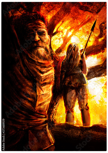 Photo A girl in rags stands on a tree with a spear, preparing to finish off a crucified man who frowns in agony at sunset