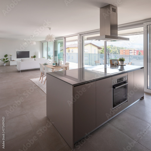 Modern kitchen with island, oven, induction plate and hood. Behind the table and sofa