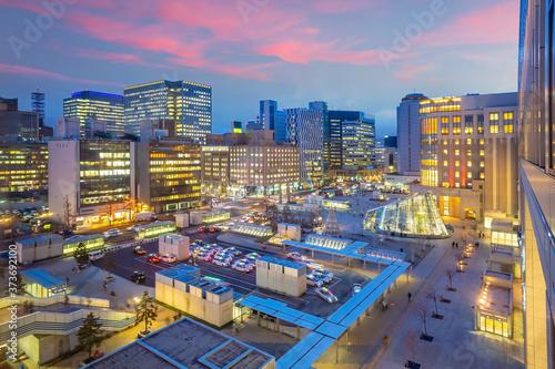 Sapporo city downtown skyline cityscape of Japan sunset Fototapet