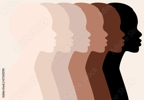 Obraz na plátně African women, profile silhouettes, skin colors, vector