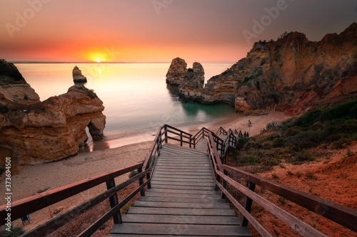 Cuadros en Lienzo Coves and cliffs at Ponta da Piedade the most famous spot of Algarve region, in Portugal